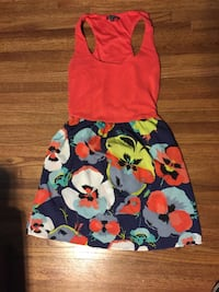 Small Women's red, white and floral sleeveless overall skirts