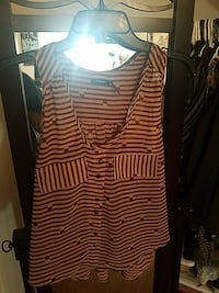 women's red and white striped sleeveless dress Madera, 93638