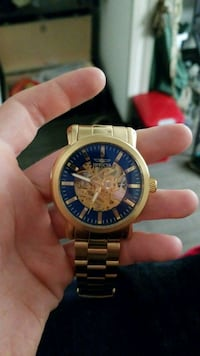 round gold-colored chronograph watch with link bracelet Fort Oglethorpe, 30742