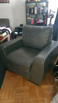 Grey Leather Arm Chair