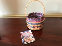 Longaberger 1997 Inaugural Basket With Liner  Protector & product card America Flag Liner Signed Ocala, 34476