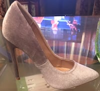 pair of gray suede platform stiletto shoes