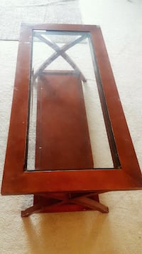 brown wooden framed glass top coffee table London, N6H 0B3
