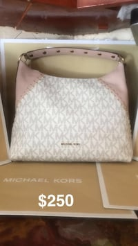 white and gray monogram Michael Kors leather handbag Palmdale, 93552