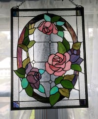 Floral Leaded StainGlass Panel