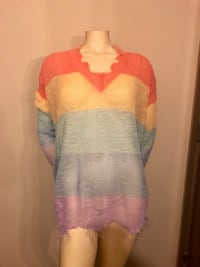 NEW w/ Tags! Light-Weight, Frayed, V-neck sweater