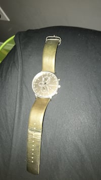 Round silver-colored chronograph watch with brown leather strap Stonewall, R0C 2Z0