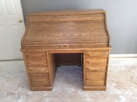 """Very nice Roll Top Desk. With file drawers. Solid Wood. 49""""L X 46""""H X 29.5"""" D   Conifer, 80433"""