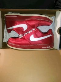 Vintage Red Satin Air Force One XXV Low cut Size 9 - 10/10 Condition