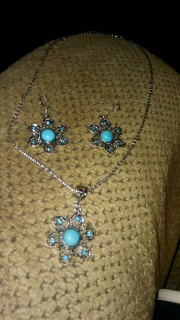 Turquoise floral jewelry set 4