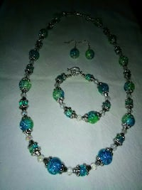 green and blue beaded necklace and earrings 757 mi