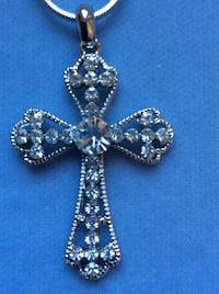 "Crystal Cross Necklace on 16"" Snake Chain"