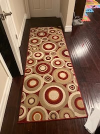 Red, burgundy runner and area rug