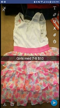 white and pink floral sleeveless dress Cedar Falls, 50613