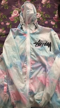 multi-colored Stussy zip-up hoodie