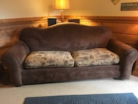 brown wooden framed gray padded couch Minneapolis, 55407