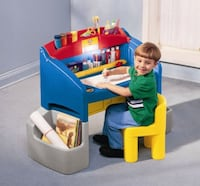blue and yellow plastic drawing table
