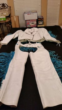 Women's White and turquoise leathers set