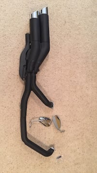 Black and gray motorcycle exhaust pipe and pair of side mirrors Stafford, 22554