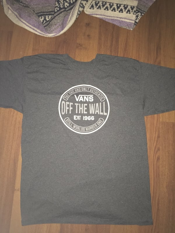"""(Large) Men's """"Vans Dark Grey Tee"""". Worn once, thorougly washed    70ac764d-5670-451c-8d1e-9256f6b97e16"""