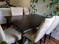 rectangular brown wooden table with chairs dining set Montréal, H4G 3A7