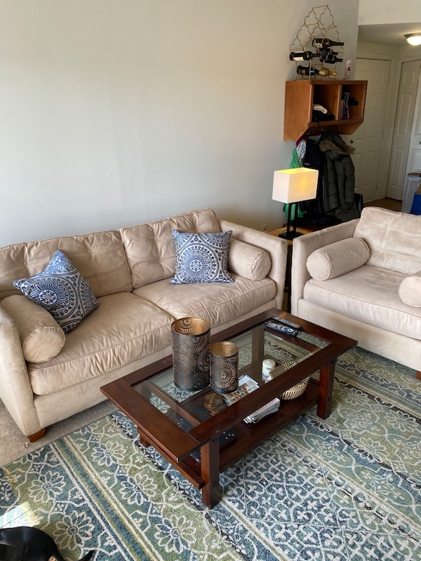 Super comfy suede sofa and chair with ottoman b44c5568-ce8b-4468-a5f2-9dff70db41ea