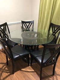 round glass top table with four chairs dining set Spring, 77380