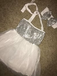 Girls white and silver sequin dress