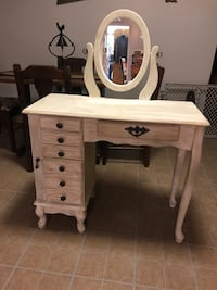 ANTIQUED VANITY WITH BUILT IN JEWELRY  CABINET