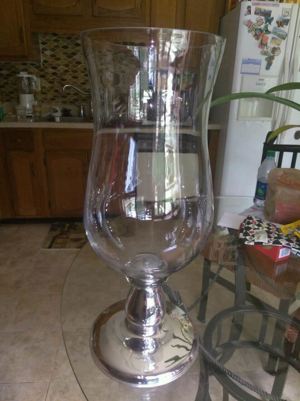 Used Large Hurricane Vase With Silver Vase 205 Tall For Sale In