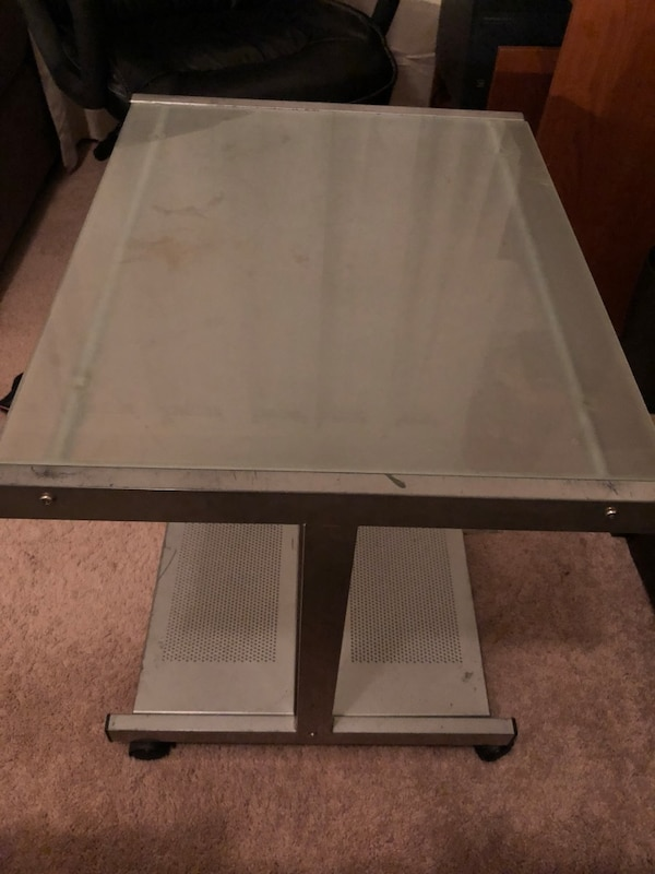 Tempered glass small table desk computer nightstand study on wheels 22.5Hx24Wx19.25L good condition
