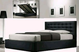 Queen size lift-up storage Bed Frame - Black Faux Leather
