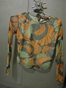 brown and grey floral long sleeve shirt