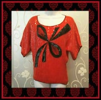VINTAGE WOMENS RED BEADED SEQUIN TOP SIZE M  Ontario, 91762