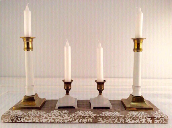 Used Unique Candle Holder Set 4 On Barn Wood Decorated Stand