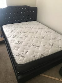 New queen bed frame low profile black with lightly used queen mattress . Sat in second bedroom for guests. Paid 1000 for both asking 300 or best offer  San Diego, 92108