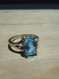 14k silver colored ring with blue gem  Lake Charles, 70615