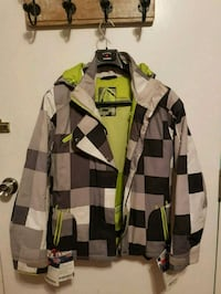 green, white, and black plaid snowboard jacket Toronto, M4K 1R3