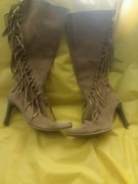 pair of women's brown heeled wide-calf boots with  Birmingham
