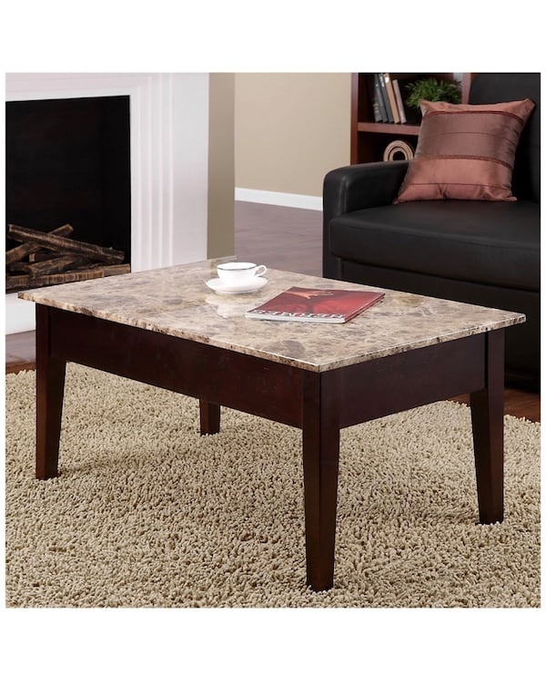 Faux Marble Lift Top Coffee Table Usado