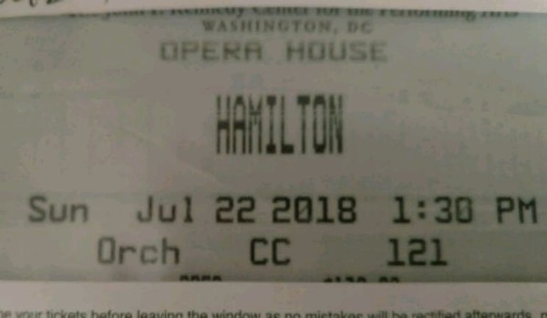 Hamilton Orchestra tickets 7/22, $600 FOR THE PAIR