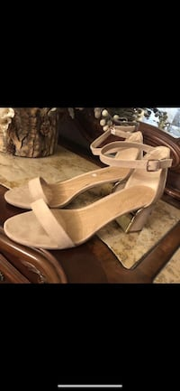 Bamboo Block Open Toe Ankle Strap Heeled Sandal Natural Nude 10 Richmond, V7E 6S2