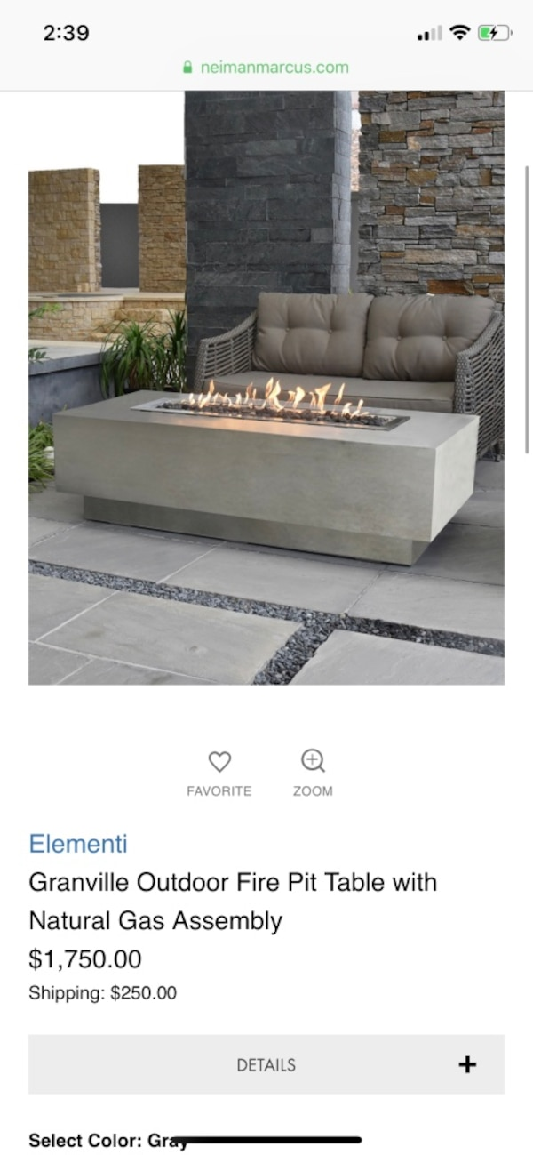 Used New Elementi Granville Outdoor Fire Pit Table With Natural Gas