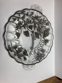 25th anniversary silver overlay glass cake plate Toronto, M2R 3N1