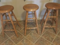 Bar Stools - beautiful set  of 3  at $35 each or $100 for all 3 - Solid Oak with swivel style feature) Baltimore, 21230
