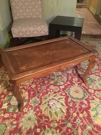 Antique french wood inlay coffee table