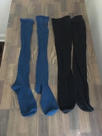 two pairs of black and blue over the knee socks New Orleans, 70119