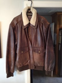 Brown leather zip-up jacket Johnson City