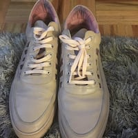 pair of gray leather low-top sneakers Pelham Manor, 10803