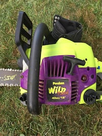 Black and purple poulan wild thing chainsaw